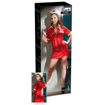 2851083 Vinyl Nurse Dress red
