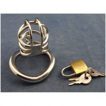 Stainless Steel Male Chastity Device With arc-shaped Cock Ring ZC062