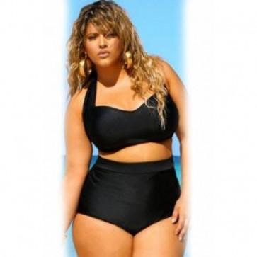 Black Halter Bandeau High Waist Plus Size Swimwear