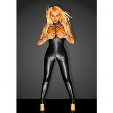 Black Super Springy Spandex-latex Catsuit