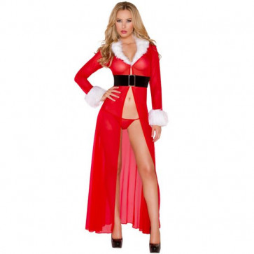 Envy Miss Claus Long Christmas Robe with G-string