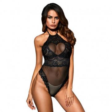 Romantic Black Fishnet Bodysuit Lingerie