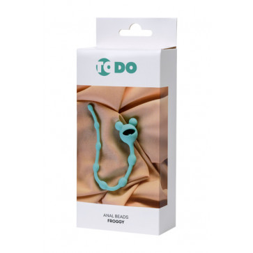 Анальная цепочка ToDo By Toyfa Froggy, силикон, мятная, 27,4 см, ø 1,4 см